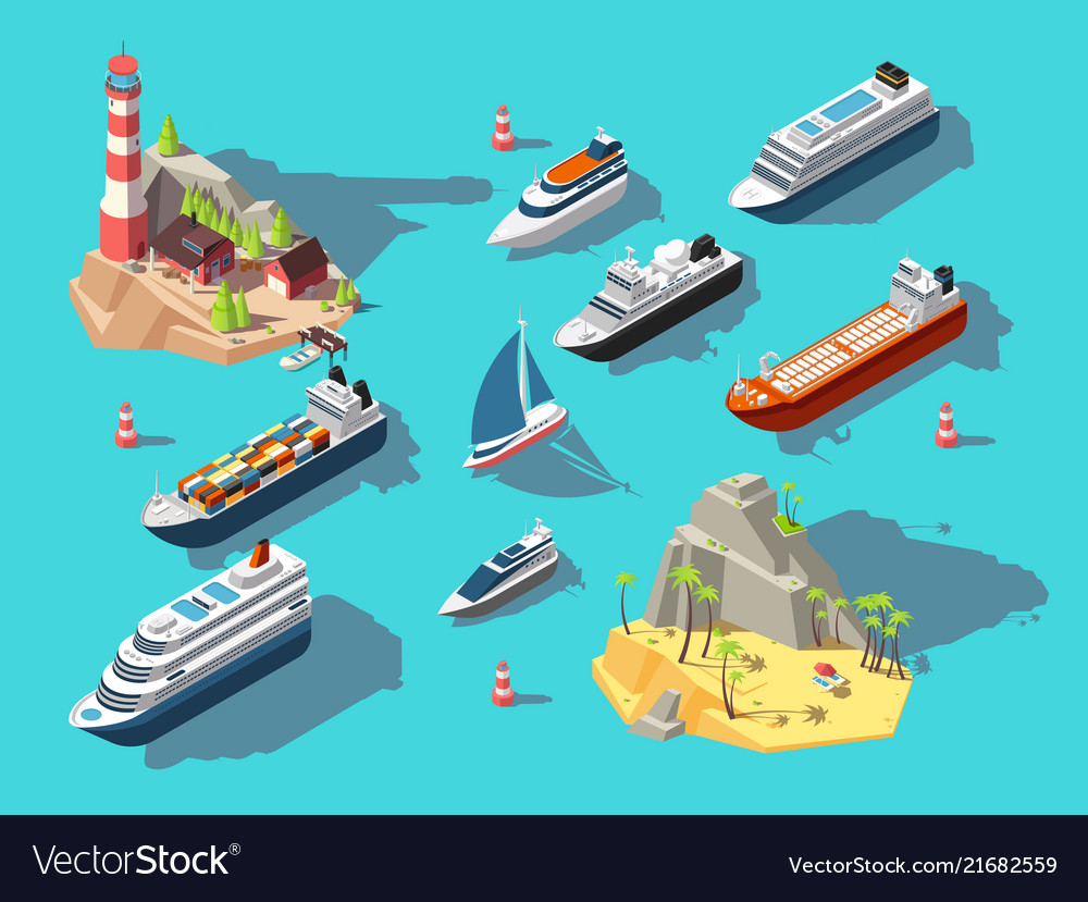 Isometric ships boats and sailing vessels ocean