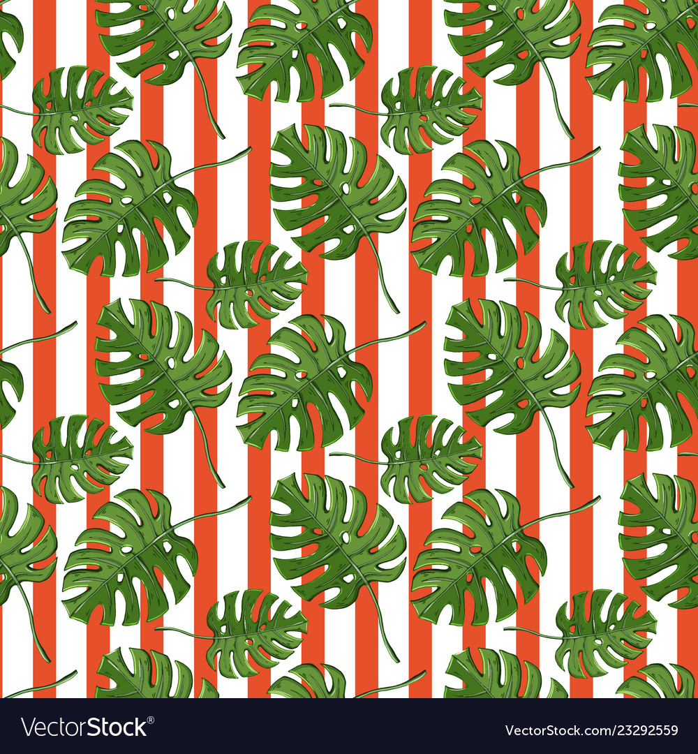 Monstera plant seamless pattern on a