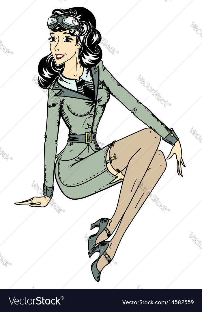 pin up classic aviator sexy girl royalty free vector image rh vectorstock com pin up girl vector free download retro pin up girl vector