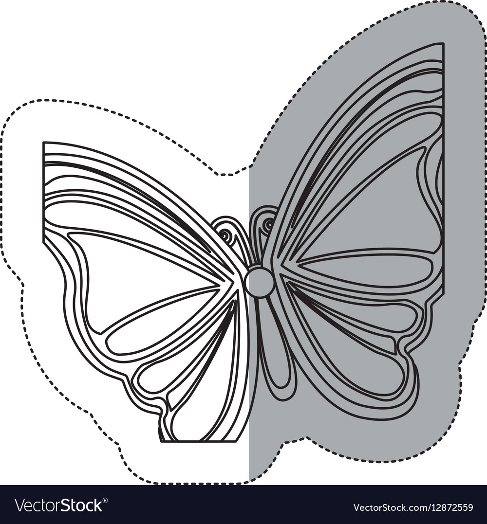 Sticker silhouette with a butterfly