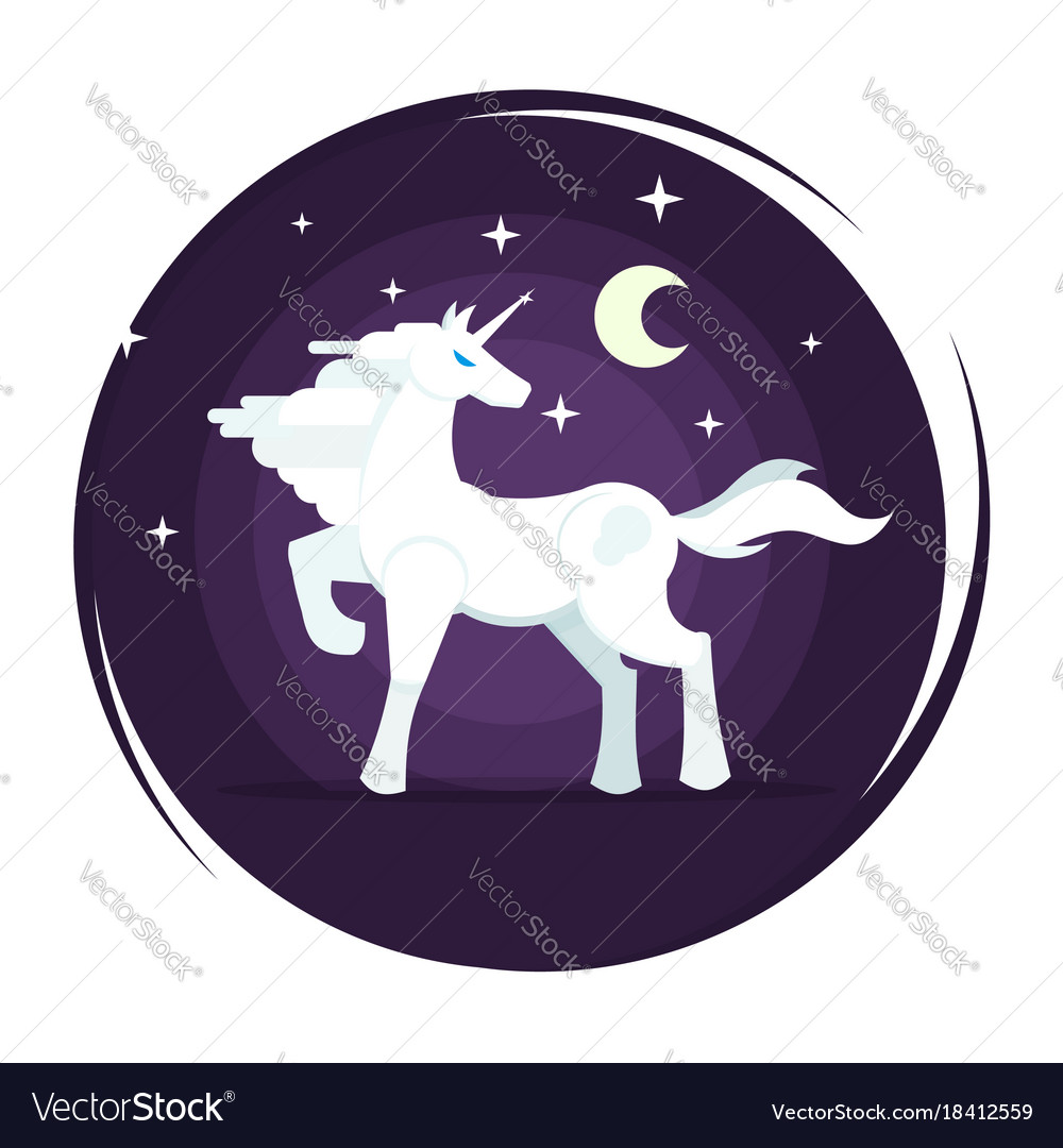 Unicorn icon in flat style with star and moon