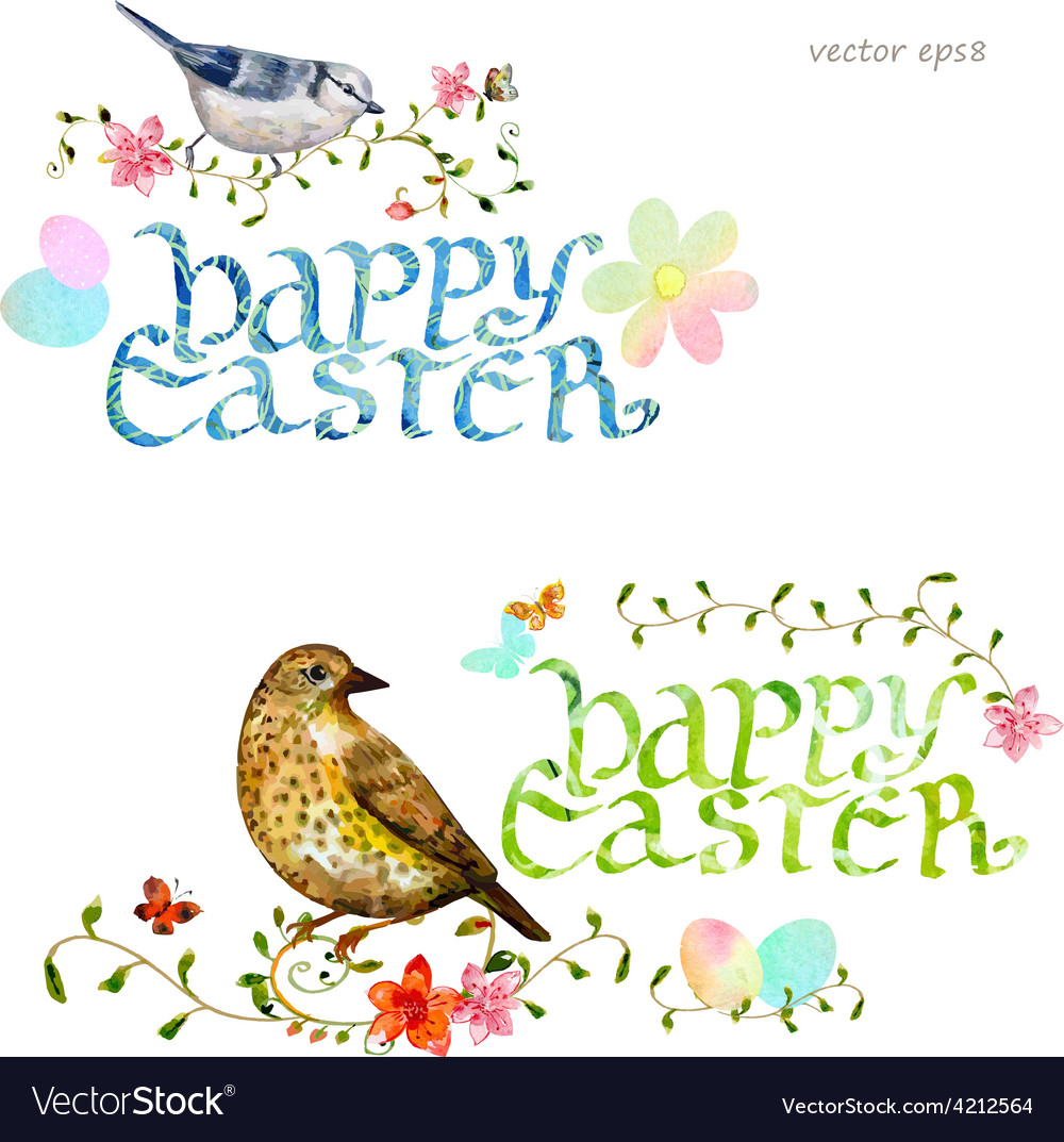 Collection invitation cards with happy easter