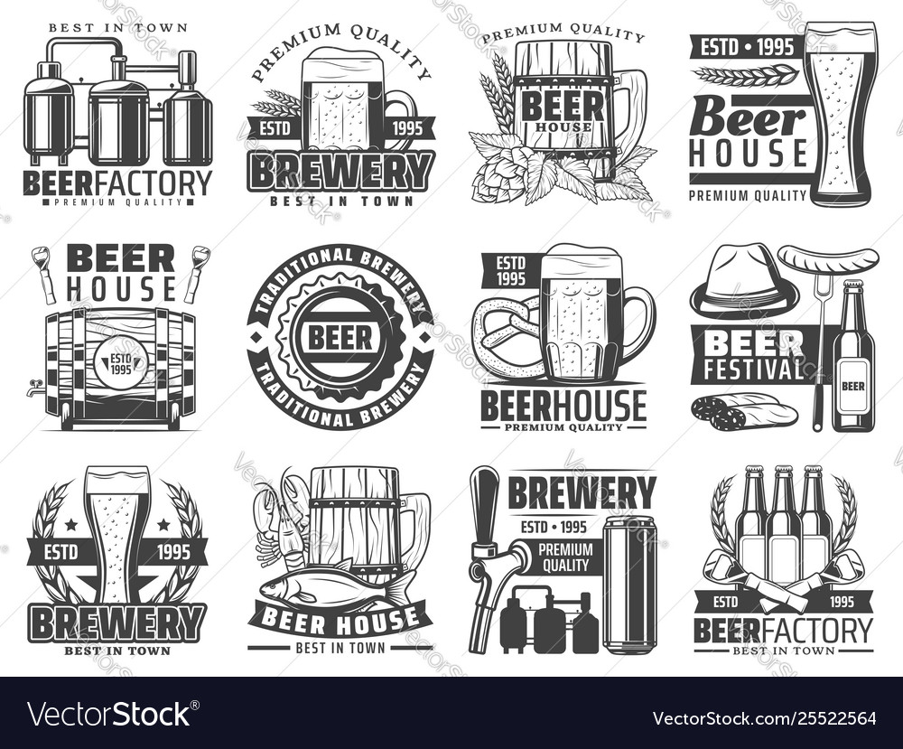 Craft beer pub bar and brewing factory icons