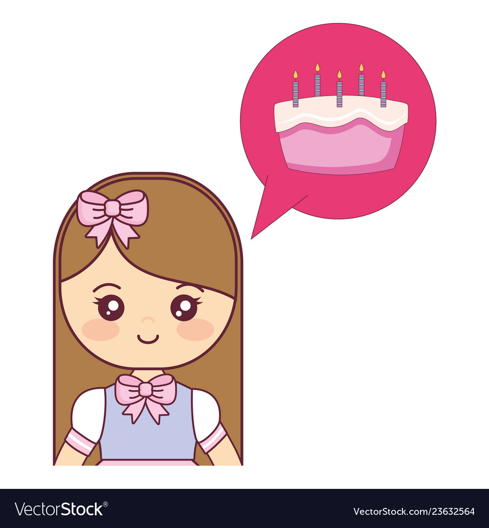 Cute and little girl thinking in sweet cake