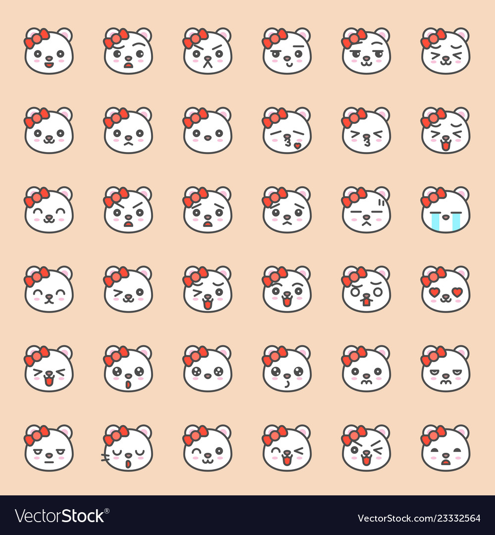 Cute bear emotion face in various expession