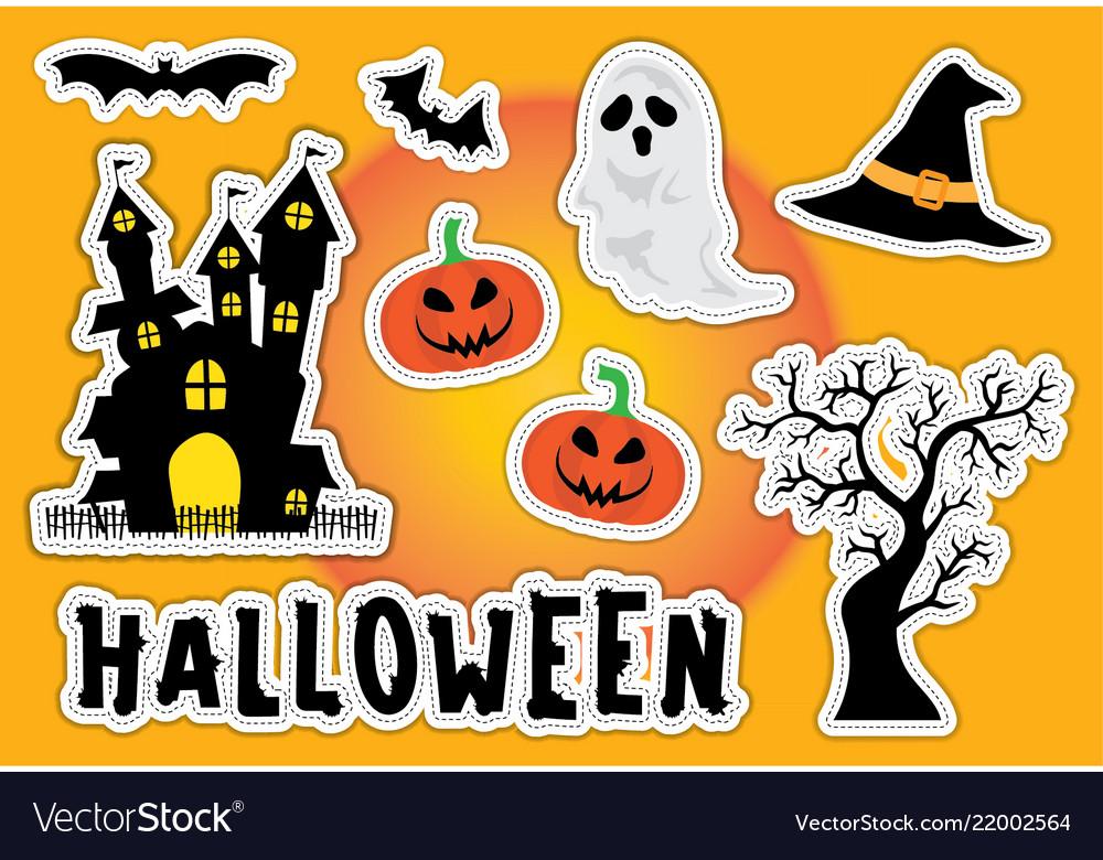 Cute halloween sticker element silhouette castle