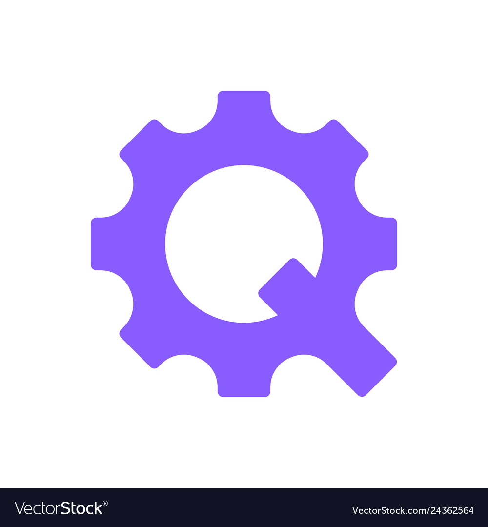 Letter q in form a gear concept of vector