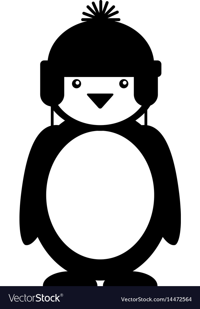 Penguin with winter hat character