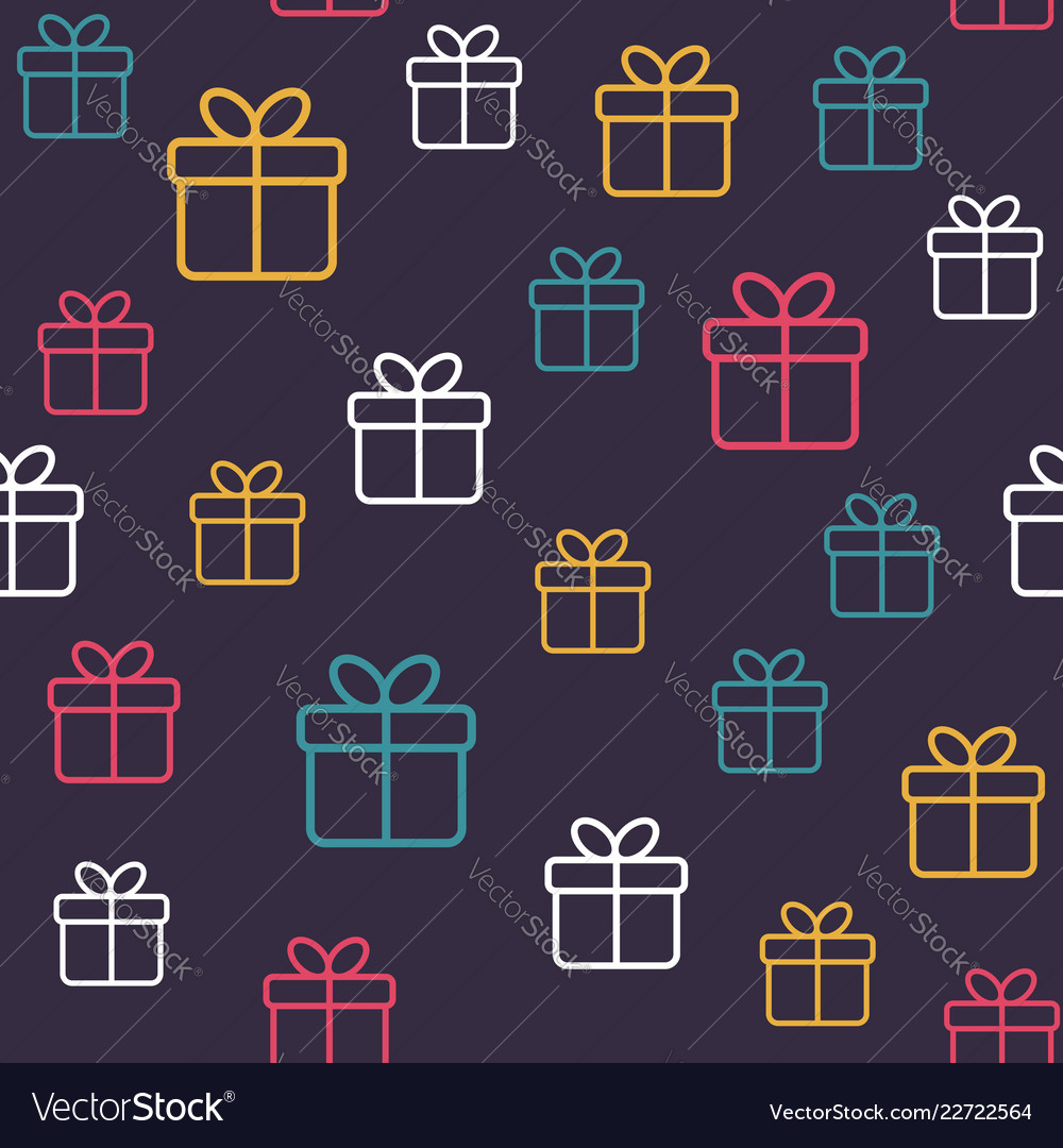 Seamless festive pattern with gift boxes