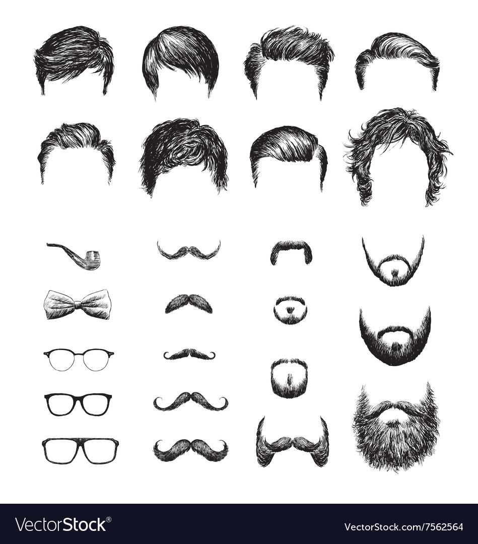 Set of different Hipster haircuts beards glasses