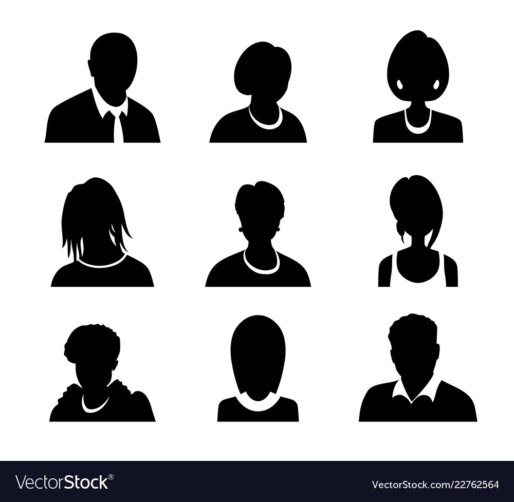 Set of men and women with business avatar
