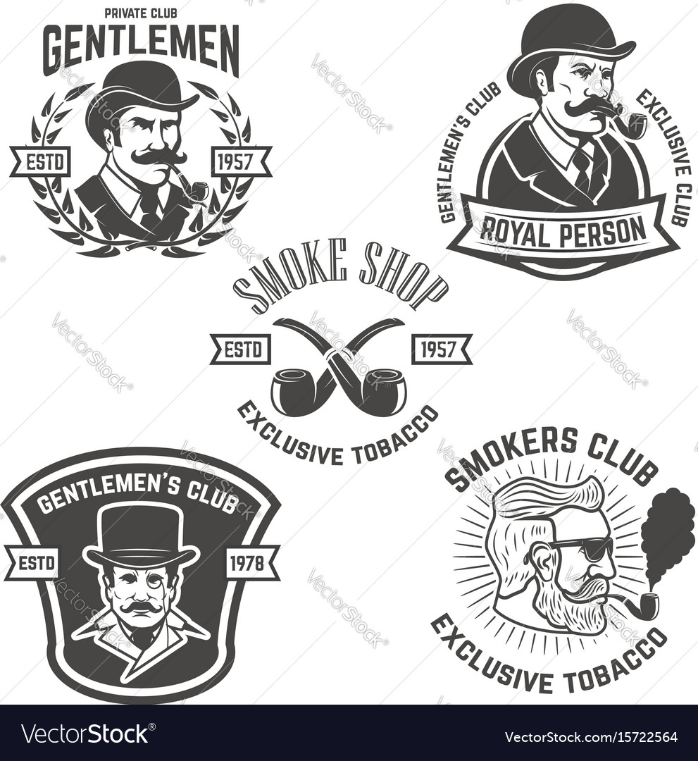 Set of smokers club gentlemen club labels design