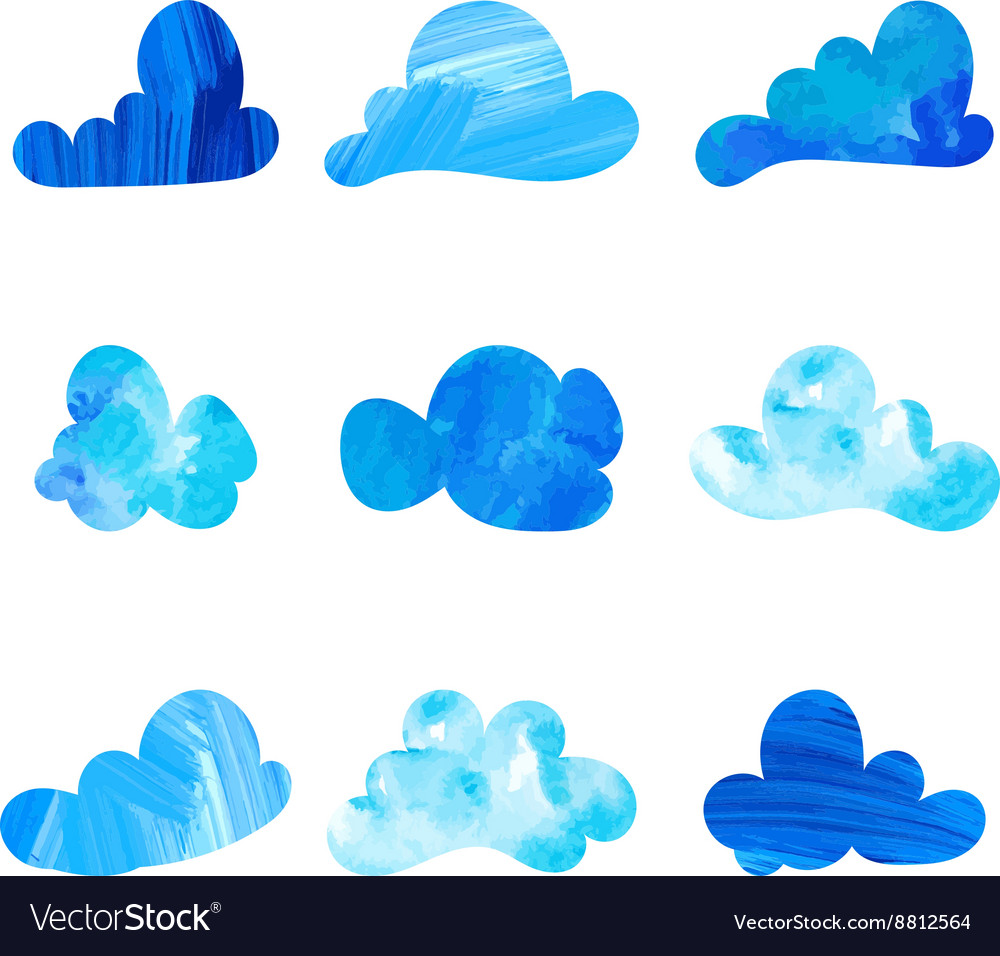 Set of stylized watercolor cloud silhouettes
