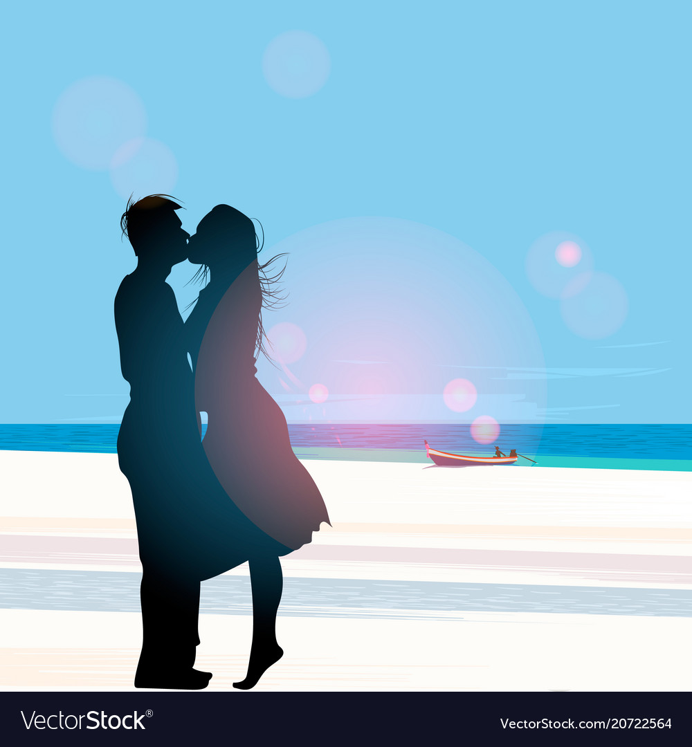 Silhouette of a couple in love kissing against