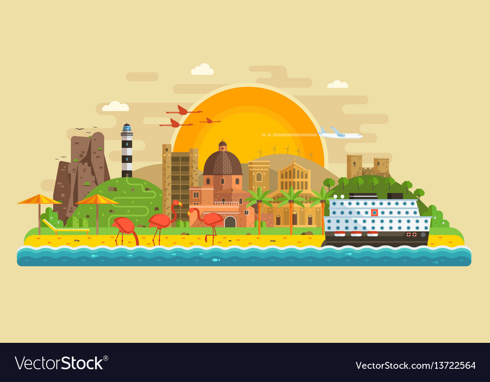 Summer travel island landscape vector image