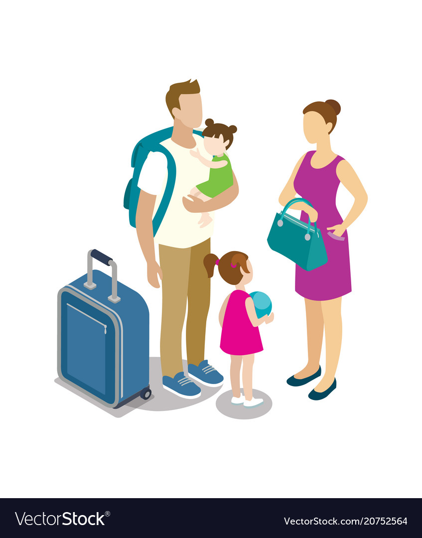 Traveling young family with children
