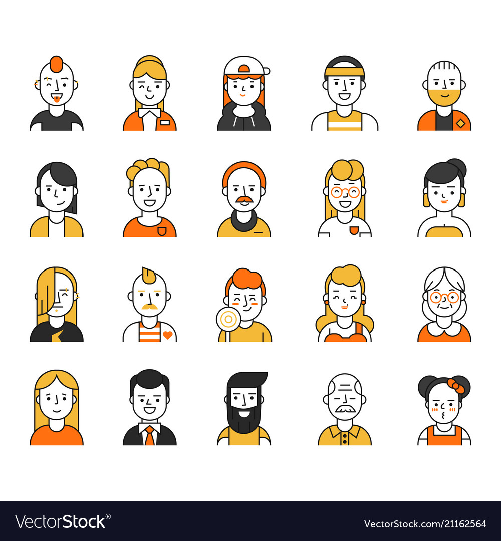 Users icon set in linear style various funny vector image