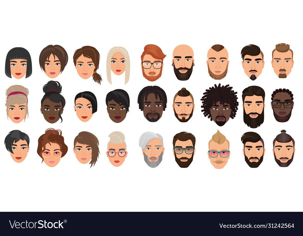 Woman man characters facial portraits