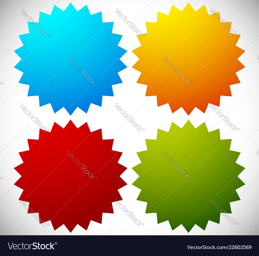 Badge shapes in 4 bright colors
