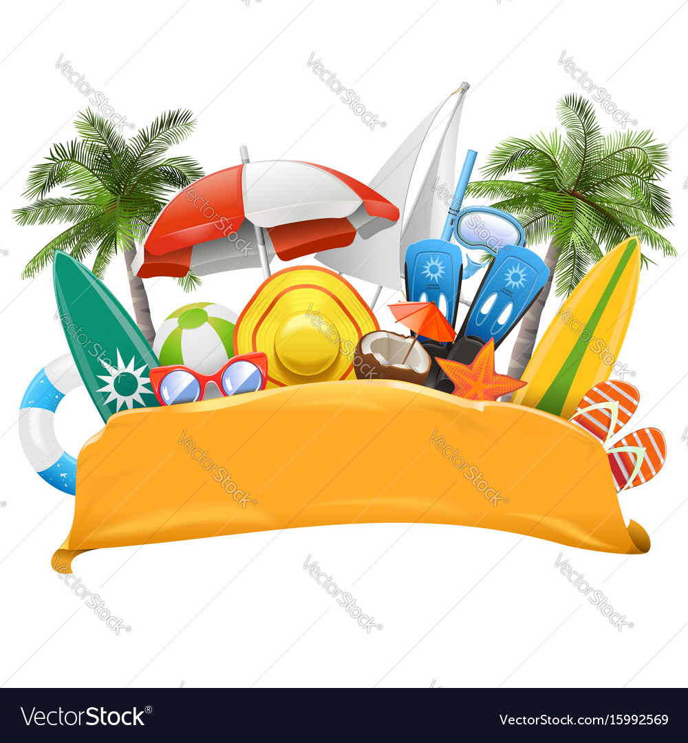 Beach yellow banner vector image