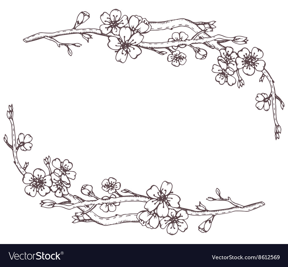 Frame with hand drawn graphic branches of a