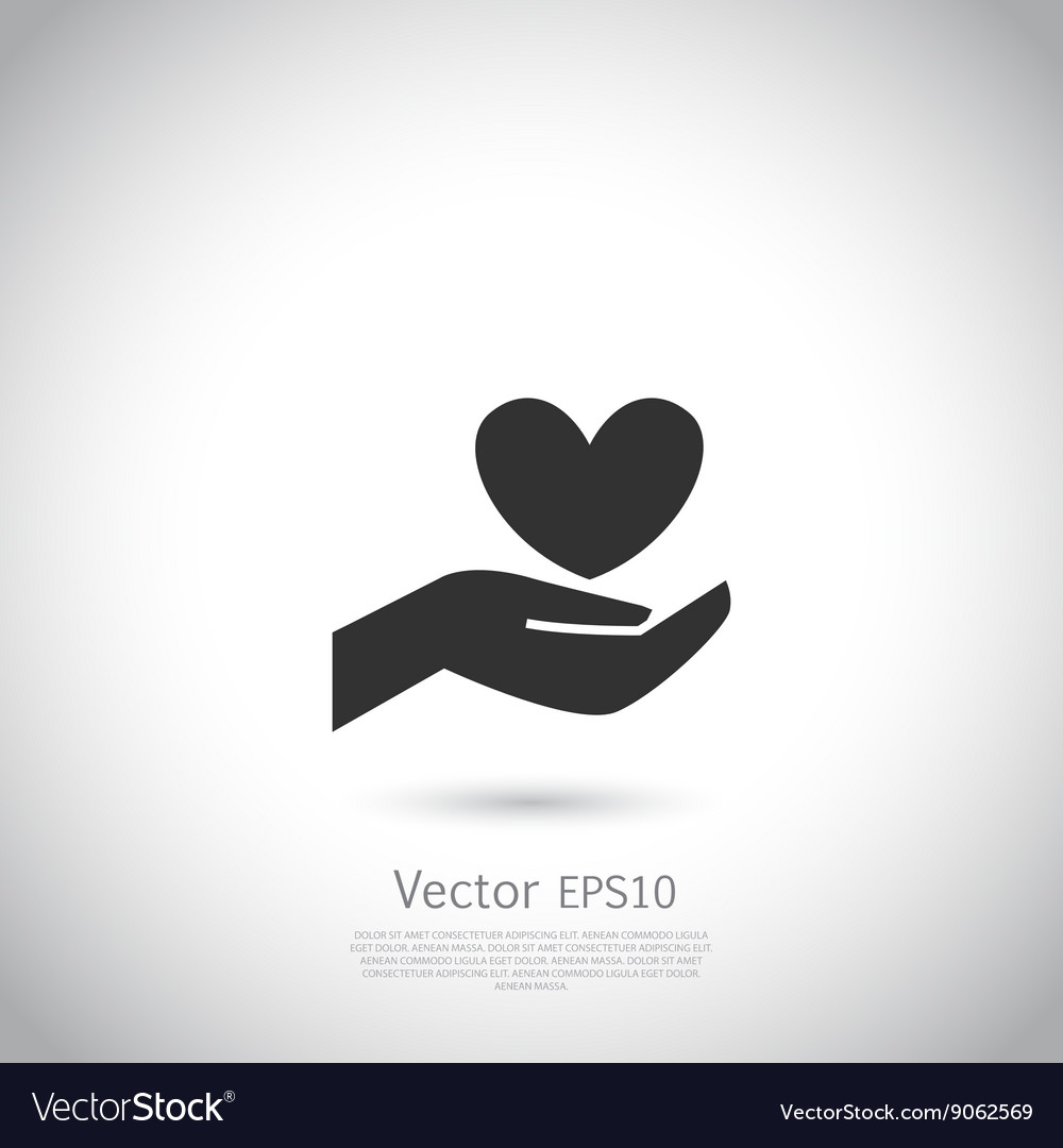 Hand holding heart symbol sign icon logo