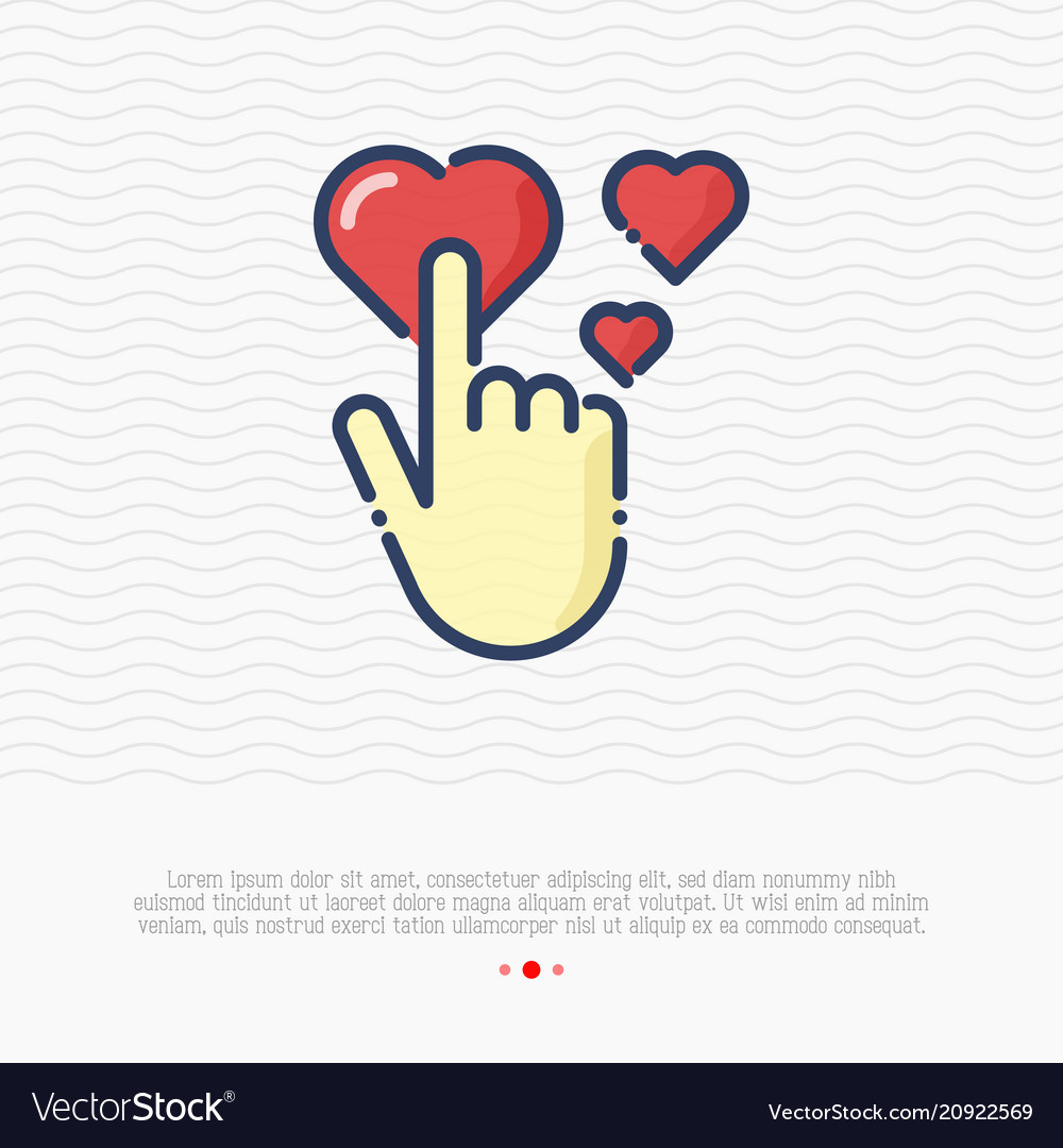 Human hand is pushing on red heart love symbol