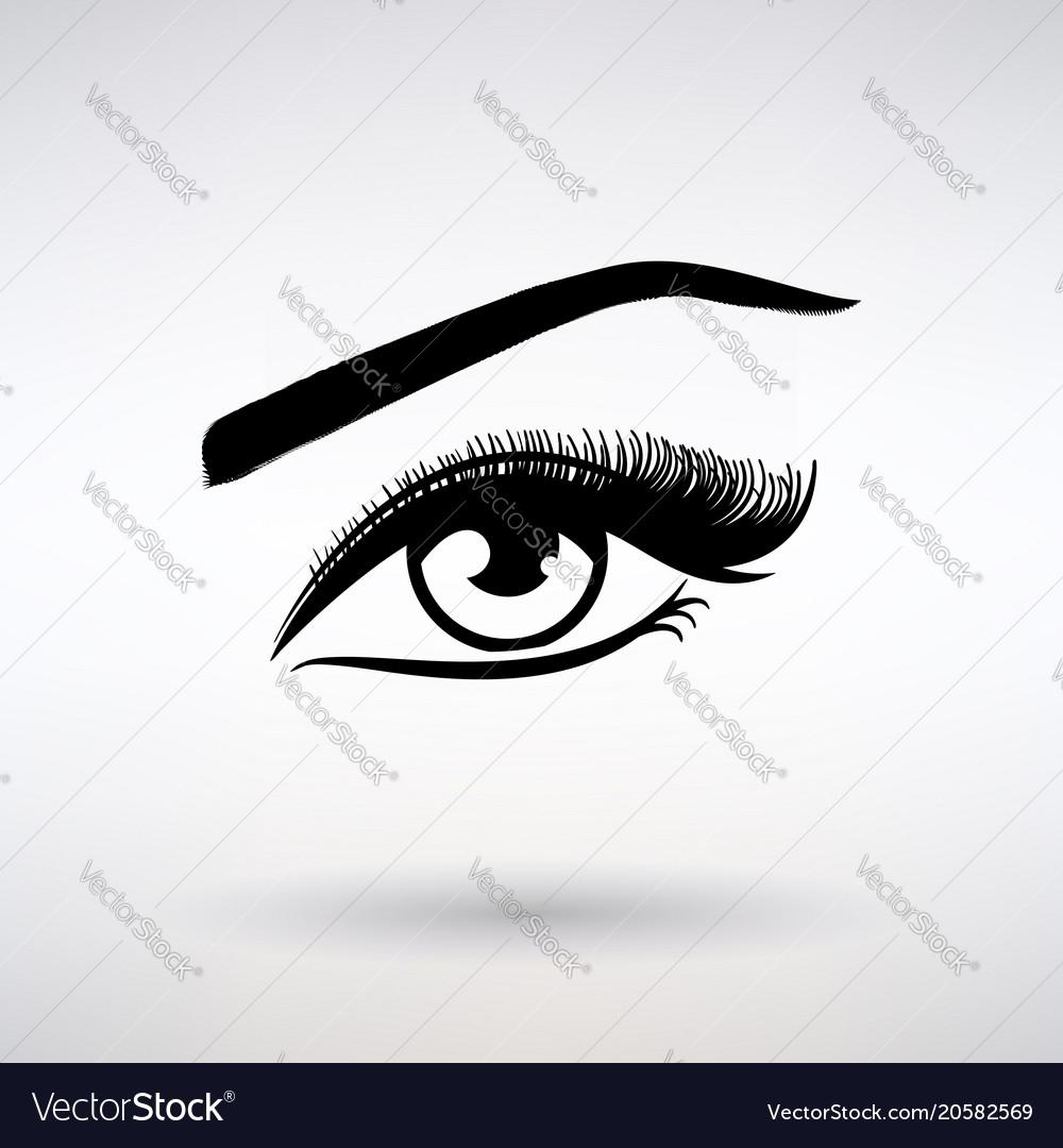 Icon female eye with long eyelashes