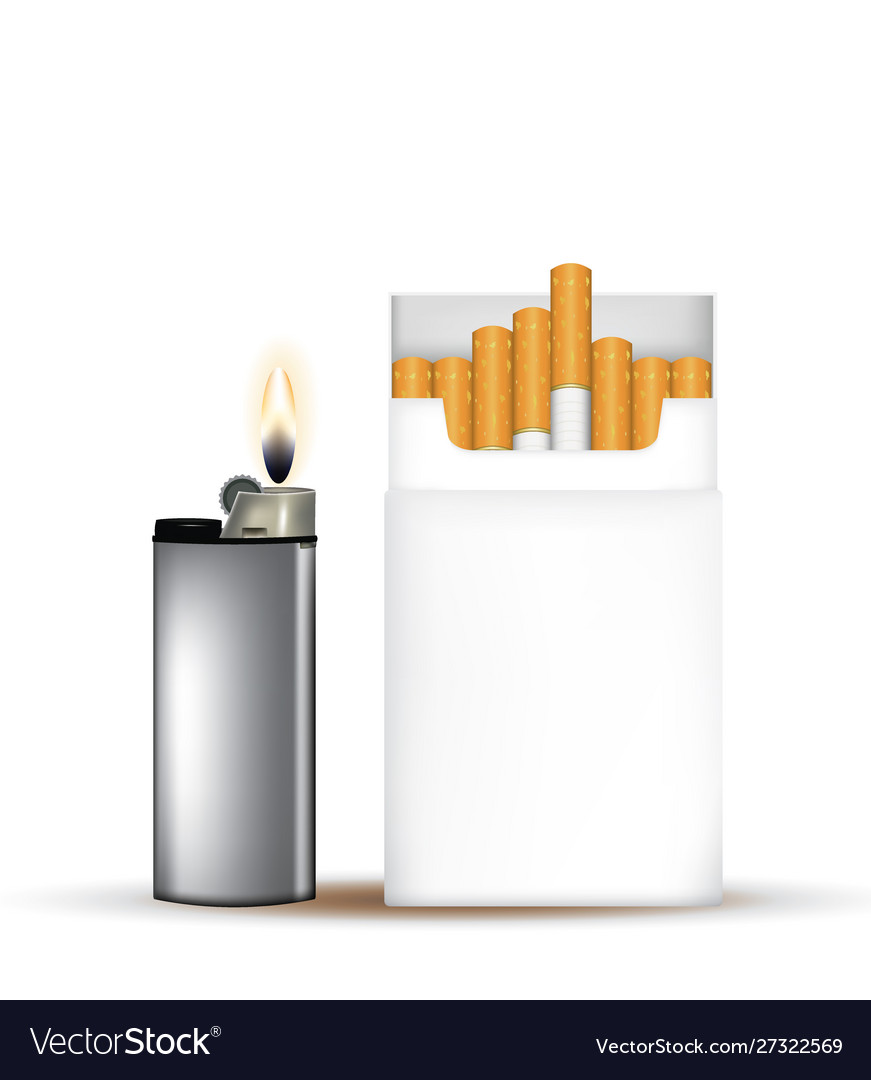 Pack cigarettes with lighter