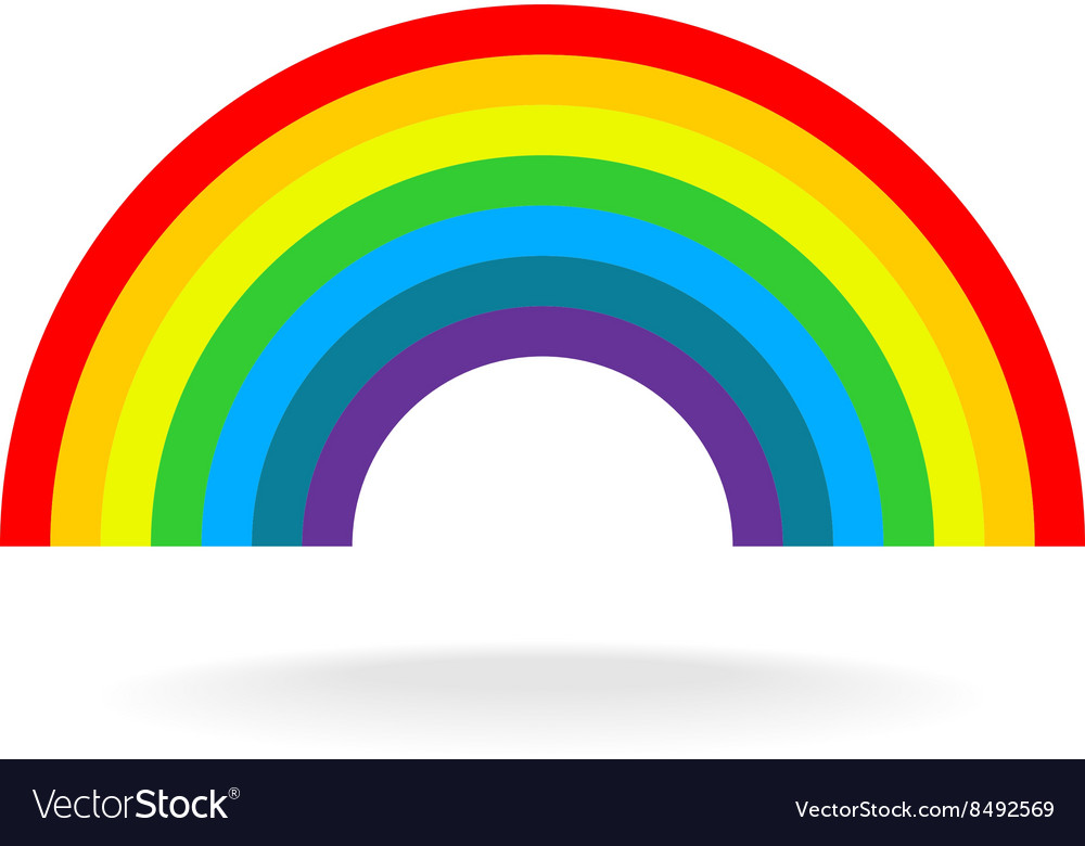 Rainbow symbol Seven flat colors Isolated on a