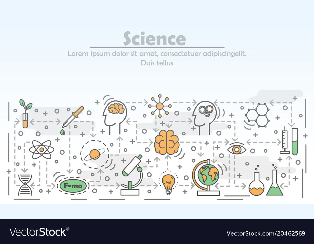 Science advertising flat line art vector image