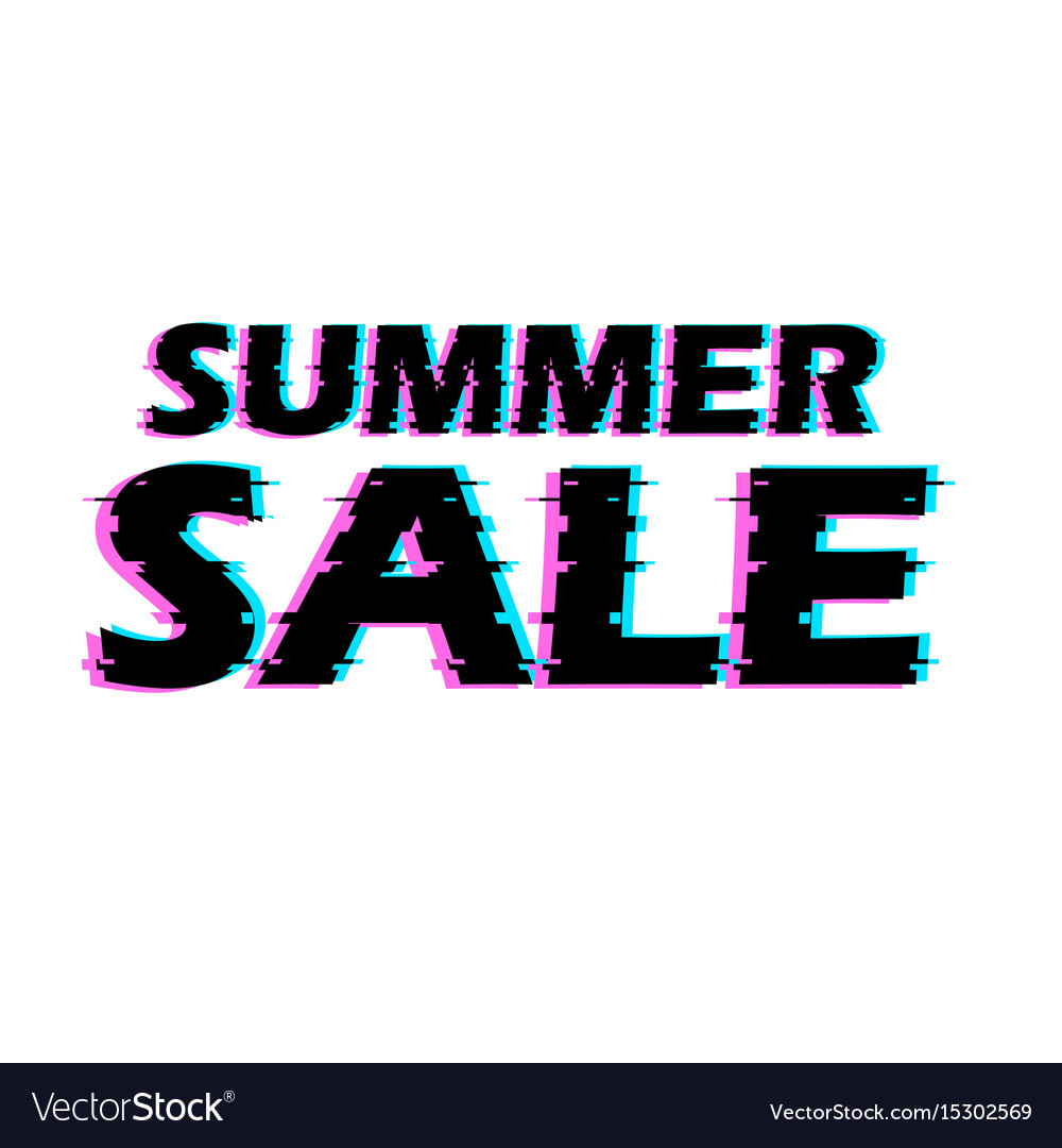 Sign summer sale with distorted glitch effect