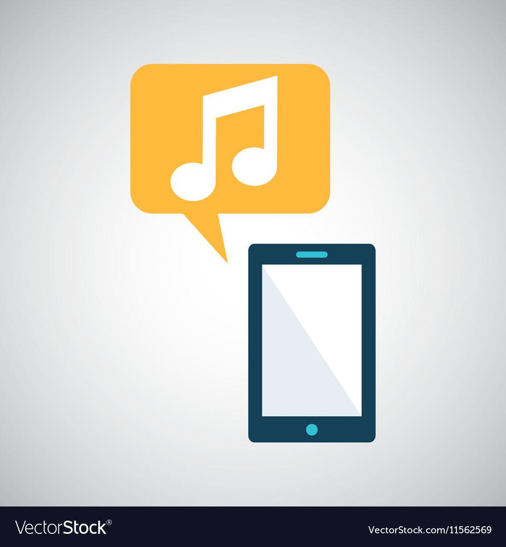 Smartphone blue cartoon music bubble speech