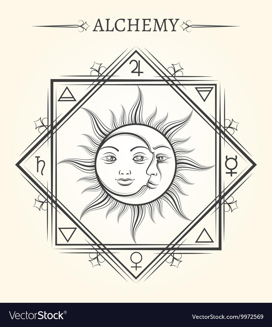 Sun and moon astrology mystical symbol