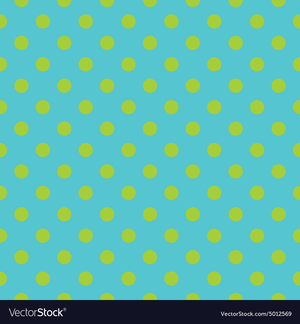 Tile pattern green polka dots on blue background vector image