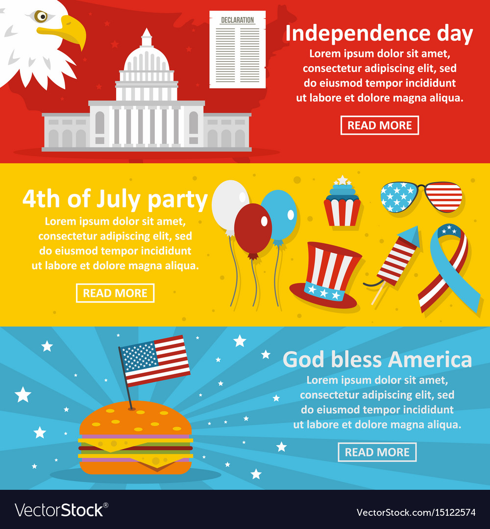 America holiday banner horizontal set flat style vector image