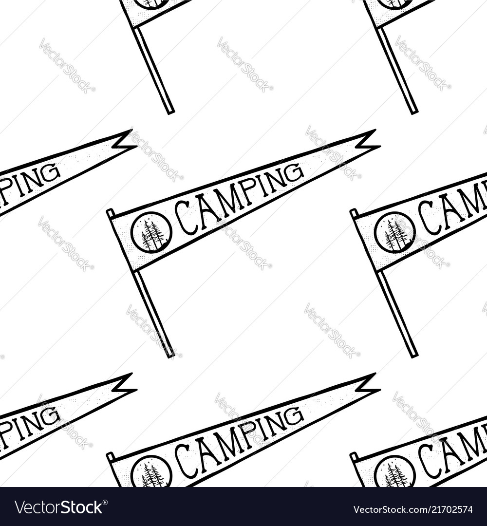 Camping pennant seamless pattern monochrome line