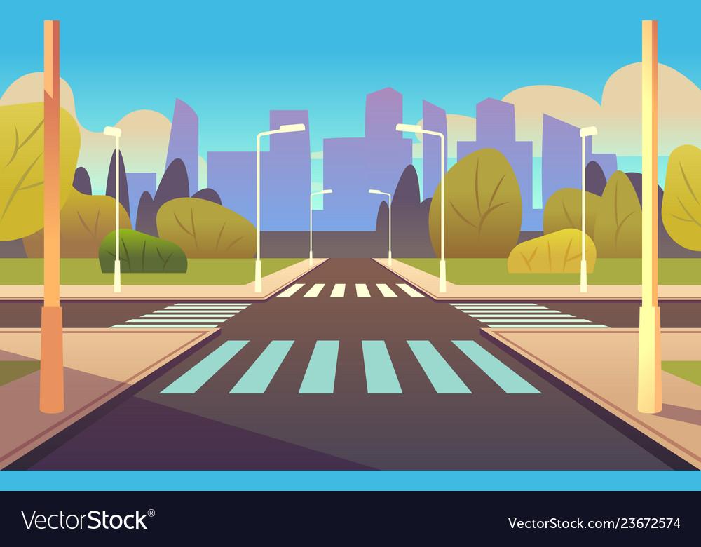 Cartoon crosswalks street road crossing highway