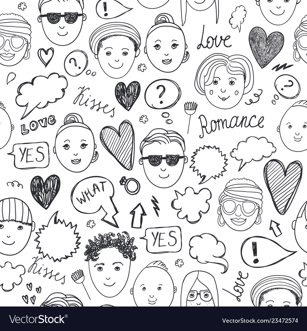 Faces seamless pattern emotions doodle freehand