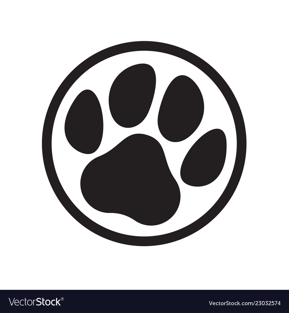 Paw logo cat dog animal pet footprint icon