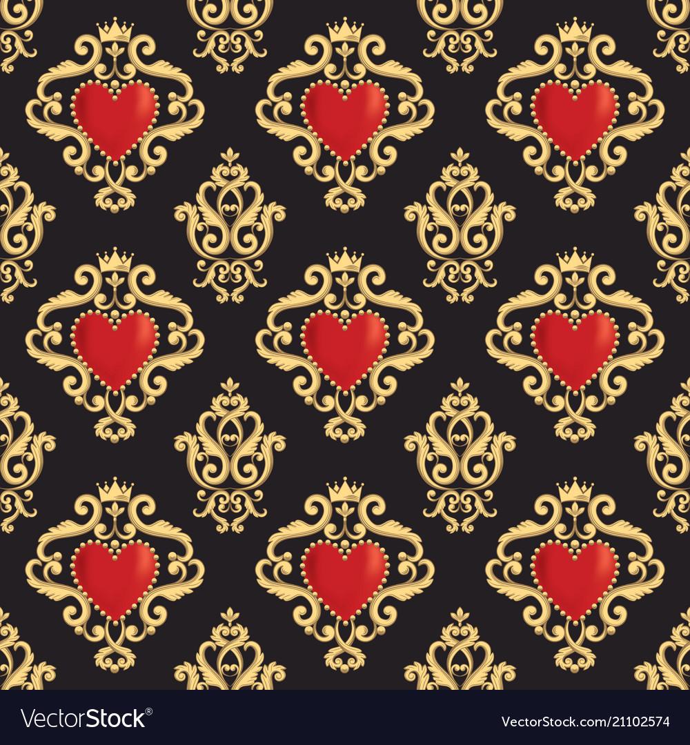 Seamless damask pattern with beautiful ornamental