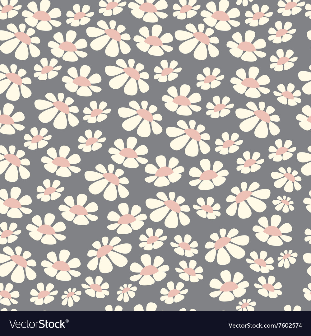 Seamless pattern design with hand drawn flowers