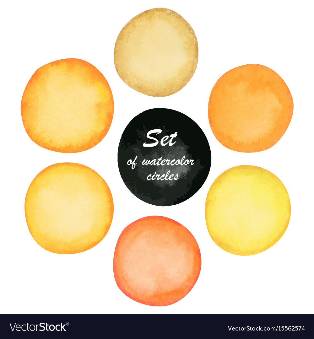 Set of yellow and orange paint watercolor circles
