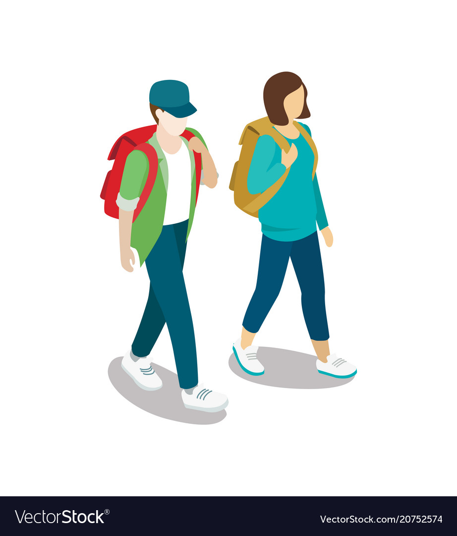 Traveling young couple with backpacks