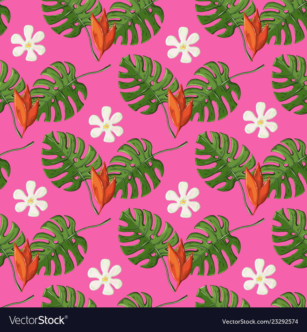 Tropical pattern with monstera leaves and flowers