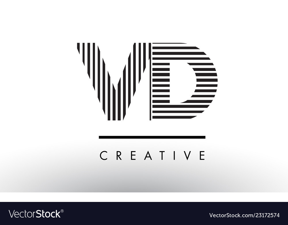 Vd V D Black And White Lines Letter Logo Design Vector Image