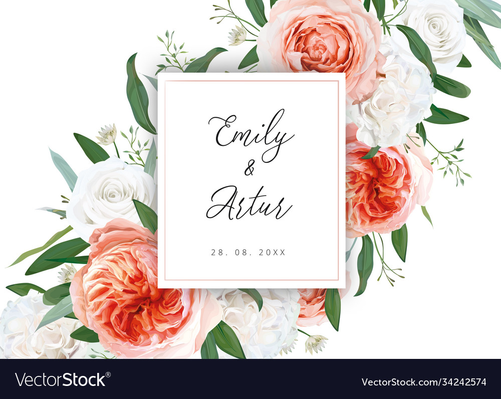 Wedding floral invite card with ivory flowers