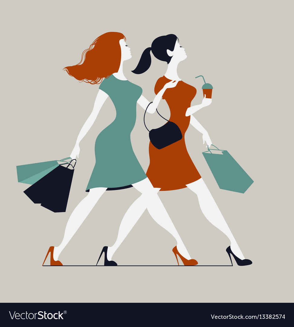 1fd54498f Women with shopping bags two young fashionable Vector Image