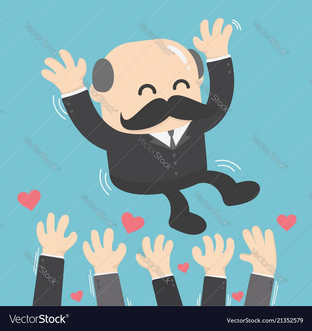 A successful businessman boss toss up successful