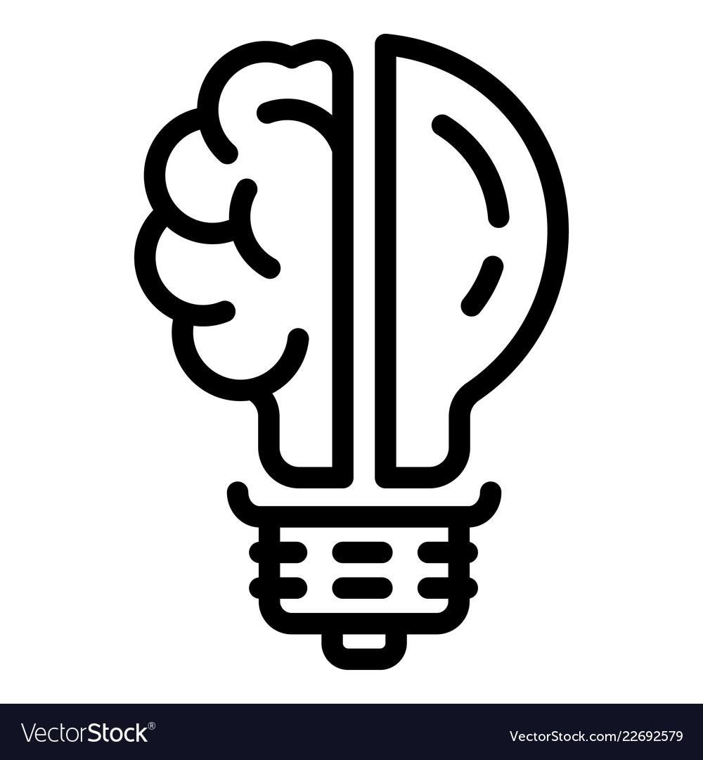 Brain bulb icon outline style